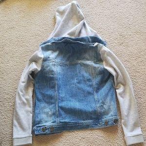 life in progress Jackets & Coats - Distressed Blue Jean Jacket-Gray Sleeve and Hood
